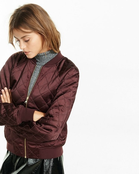 Burgundy quilted bomber jacket from Express