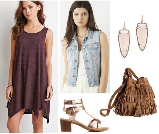 Forever 21 dress, denim vest, metallic sandals