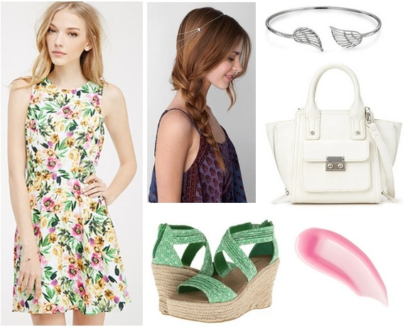 floral dress, wedges, white purse