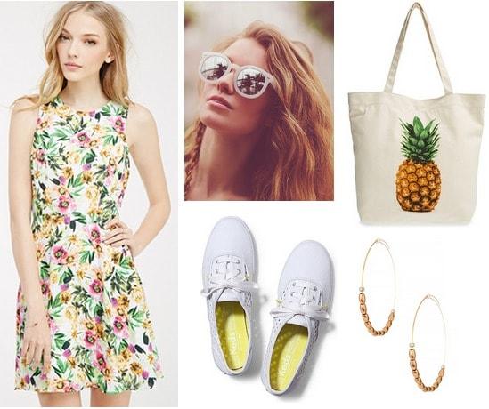 floral dress, Keds, mirrored sunglasses