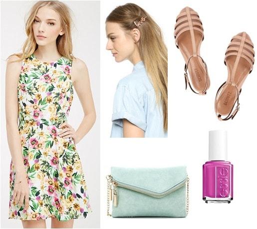 floral dress, woven flats, mint bag