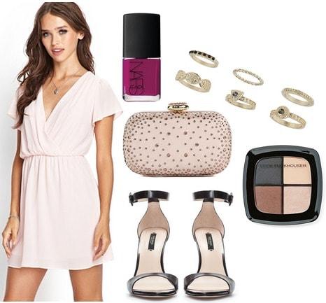 F21 flutter sleeve dress, heeled sandals, clutch