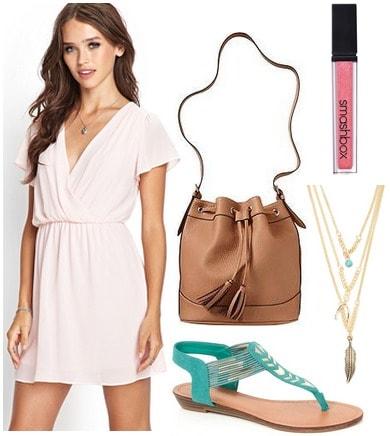 F21 flutter sleeve dress, turquoise sandals, bucket bag