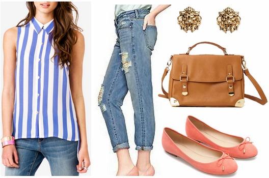 F21 vertical stripe blouse, boyfriend jeans, ballet flats