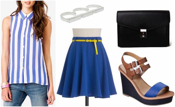 F21 vertical stripe blouse, cobalt skirt, wedges