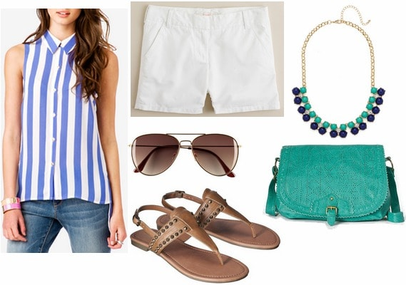 F21 vertical stripe blouse, white shorts, sandals
