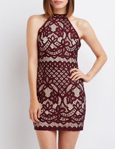 Charlotte Russe Lace Open Back Bodycon Dress