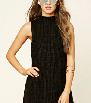 Forever 21 black sleeveless tunic sweater