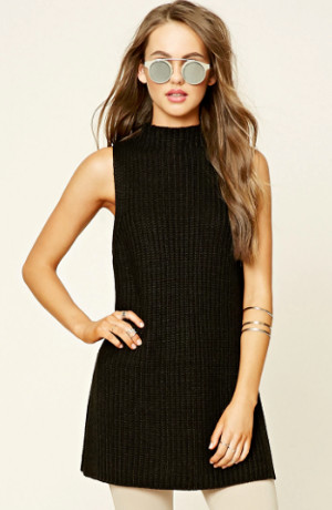 Forever 21 black sleeveless tunic sweater