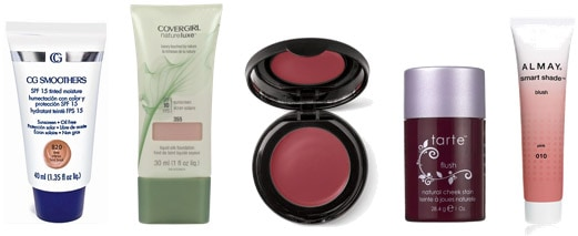 Melt-Proof Makeup and Blush: CG Smoothers Makeup, Covergirl Natureluxe Makeup, Mary Kay Cream Blush, Tarte Cheek Stain, and Almay Smart Shade Blush