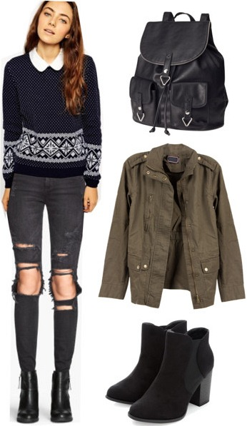Fair isle sweater, army jacket, ripped jeans