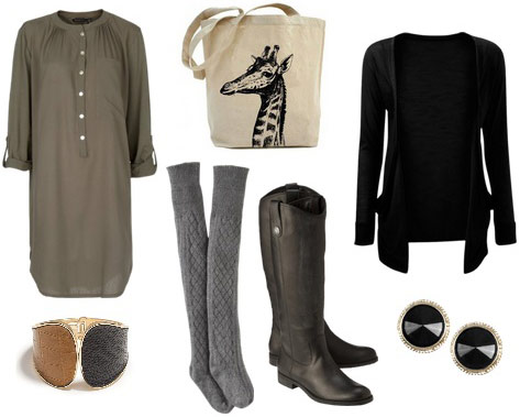 Fall festival outfit: Tunic/dress, knit tights, knee-high boots, cardigan, tote bag