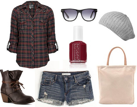 Fall festival outfit: Plaid shirt, denim cutoffs, lace-up combat boots, knit beanie