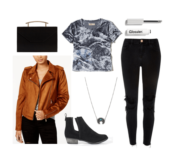 Cute outfits for fall: Fall festival outfit with patterned tee shirt, ripped jeans, brown suede moto jacket, cutout ankle boots, necklace, clutch