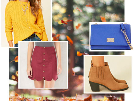 Fall outfit idea: Yellow sweater, red button front skirt, brown booties, cobalt blue bag