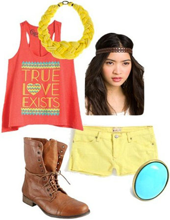 Outfit incorporating versatile boots: Yellow shorts, neon tank, military boots, bold necklace, turquoise ring
