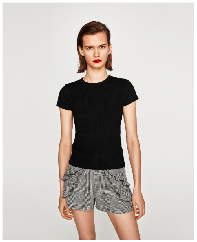 Fall shorts from Zara: Gray plaid ruffle shorts in a thick tweed material, shown on a model wearing a black t shirt and red lipstick