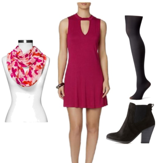 Fall outfit idea with raspberry pink mock neck skater dress, pink and orange patterned scarf, black tights, black suede ankle booties
