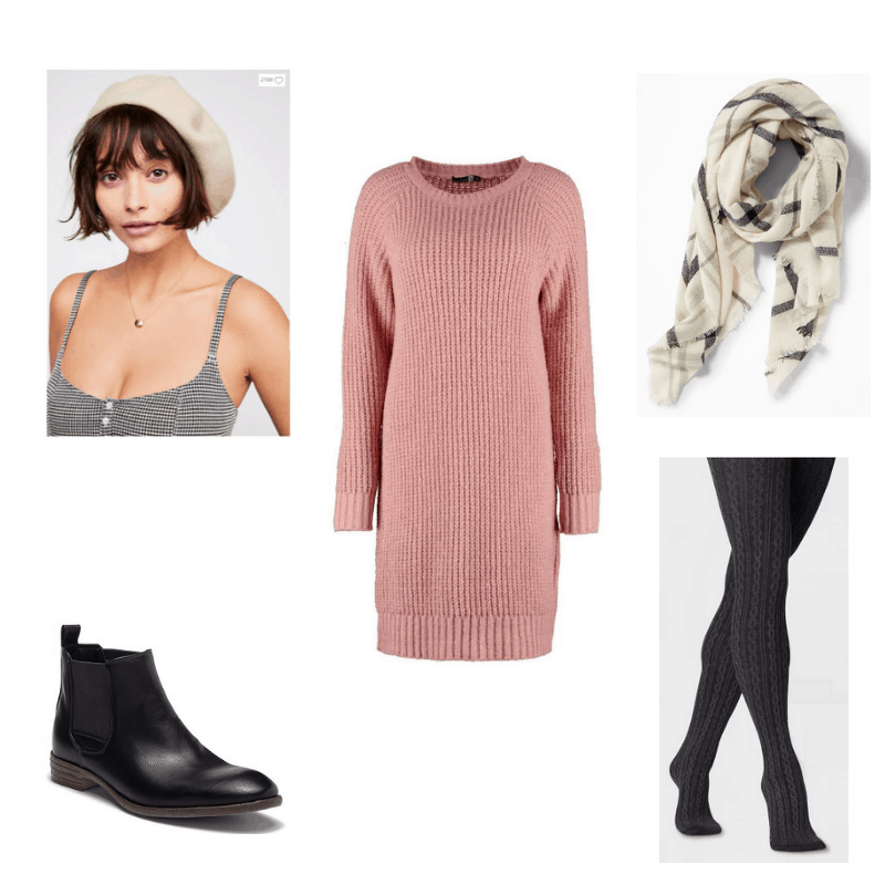 Fall to Winter transition look with pink sweater dress, plaid blanket scarf, cable sweater tights, wool beret, and leather ankle boots