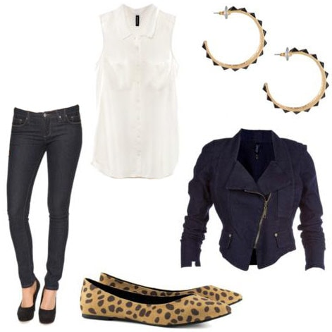 Fall transition outfit 1: Skinny jeans, animal print flats, white blouse, moto jacket, statement earrings