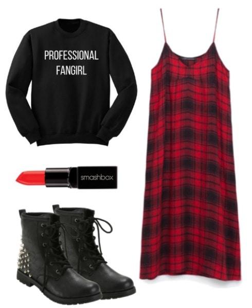 plaid slipdress outfit