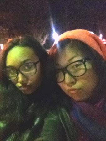 CF readers Violanta and Ayuna wearing faux glasses