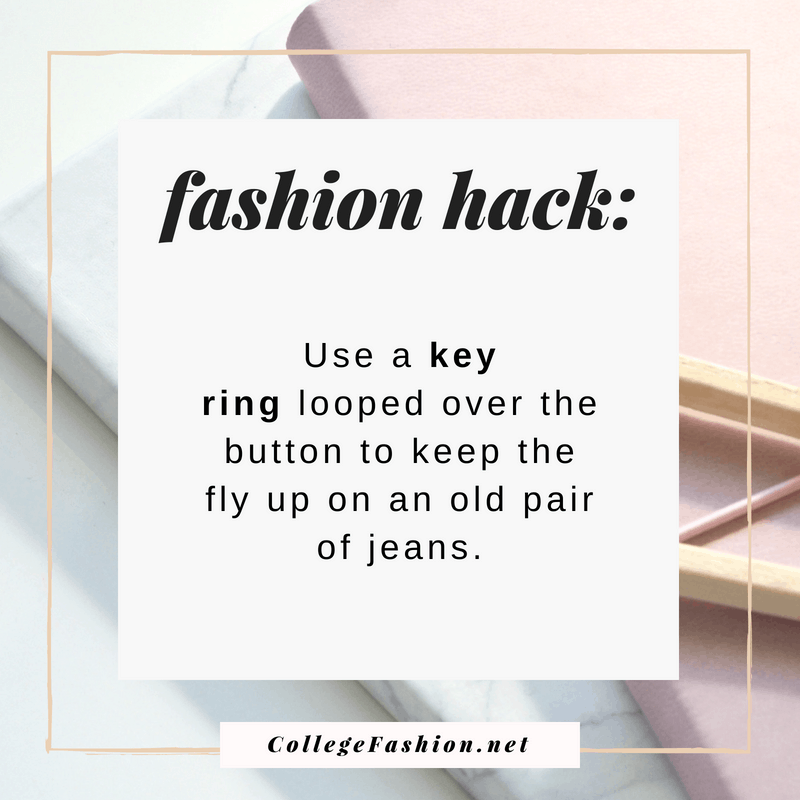 Fashion hack: Use old key rings to keep the fly up on pants when the zipper has failed