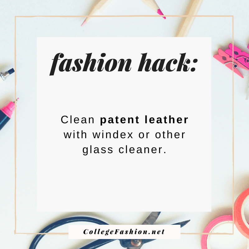 Fashion hack: Clean patent leather items with glass cleaner