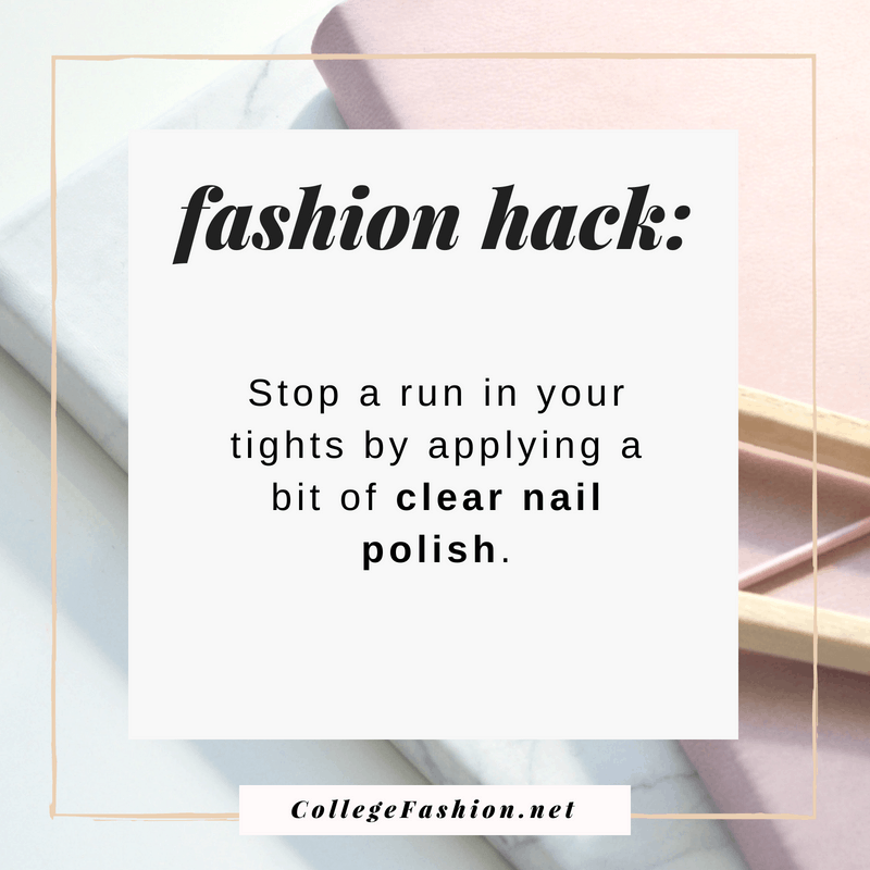 Fashion hack: Stop a run in your tights by applying clear nail polish