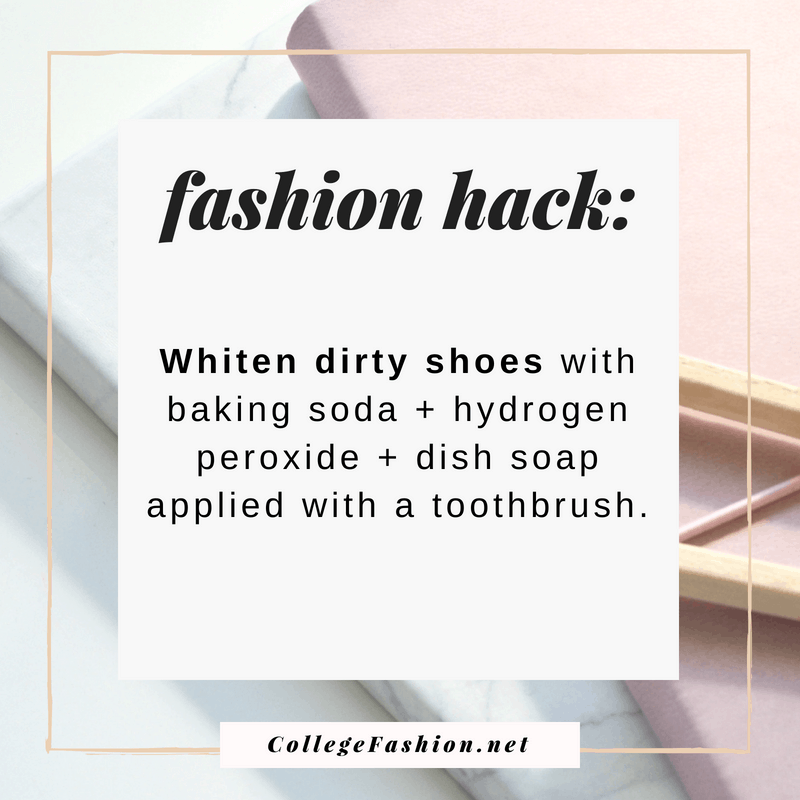 Fashion hack: Whiten shoes with hydrogen peroxide, dish soap, and baking soda