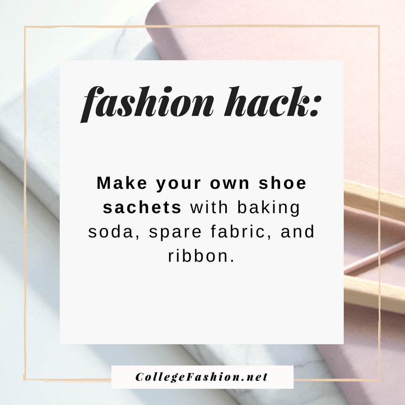 Fashion hack: Make your own shoe sachets with baking soda, old fabric, and ribbon