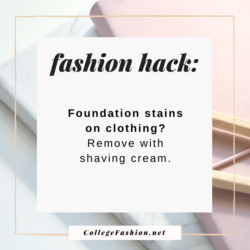 Fashion hack: Remove foundation from clothes with shaving cream