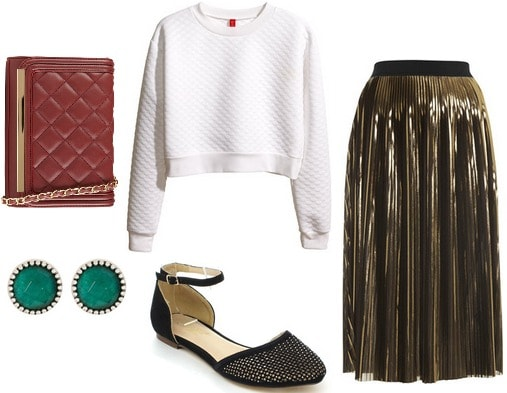 Fashion inspired by art cropped sweater, gold midi skirt, flats