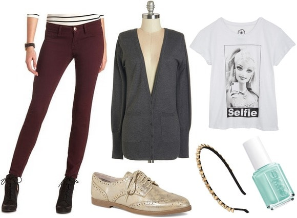 Fashion inspired by art jeggings, cardigan, graphic tee, metallic oxfords