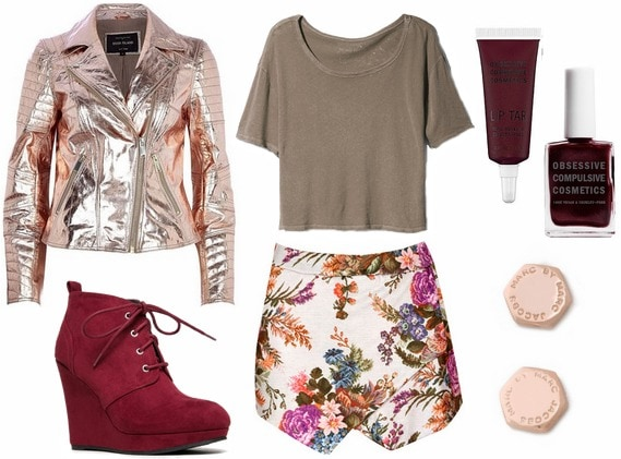 Fashion inspired by art metallic biker jacket, floral skort, red wedge boots