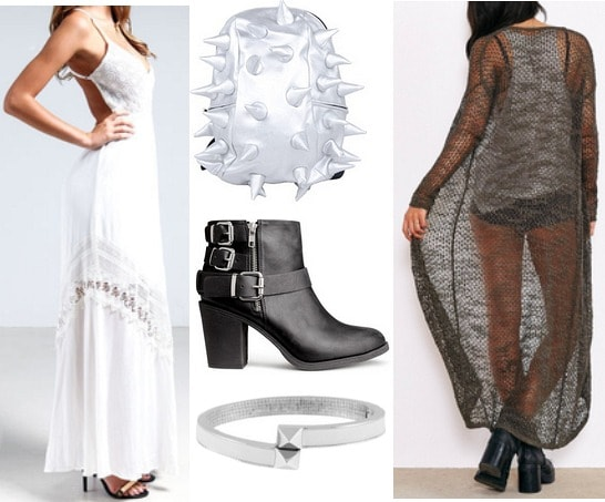 Fashion inspired by art white maxi dress, duster, and ankle boots