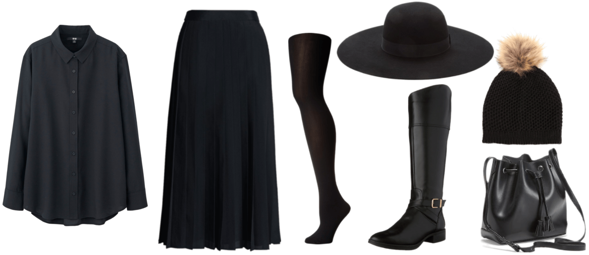 """""""How Do I Dress Fashionably Without Sacrificing My Beliefs?"""" outfit #1 featuring black blouse, black pleated midi skirt, black tights, black wide-brim hat, black knee-high boots, black knitted beanie with pom-pom, and black bucket bag"""
