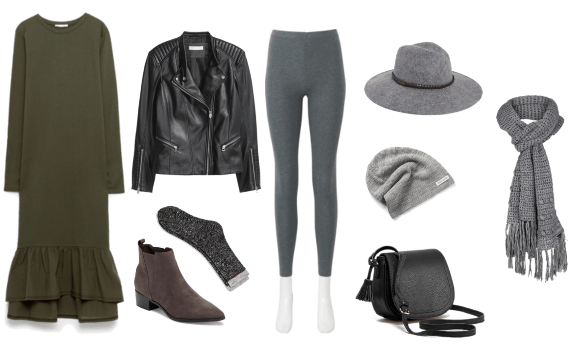 """""""How Do I Dress Fashionably Without Sacrificing My Beliefs?"""" outfit #2 featuring olive green dress, black faux-leather jacket, gray socks, gray ankle boots, gray leggings, gray wide-brim hat, gray beanie, black mini saddle bag, gray knitted scarf"""