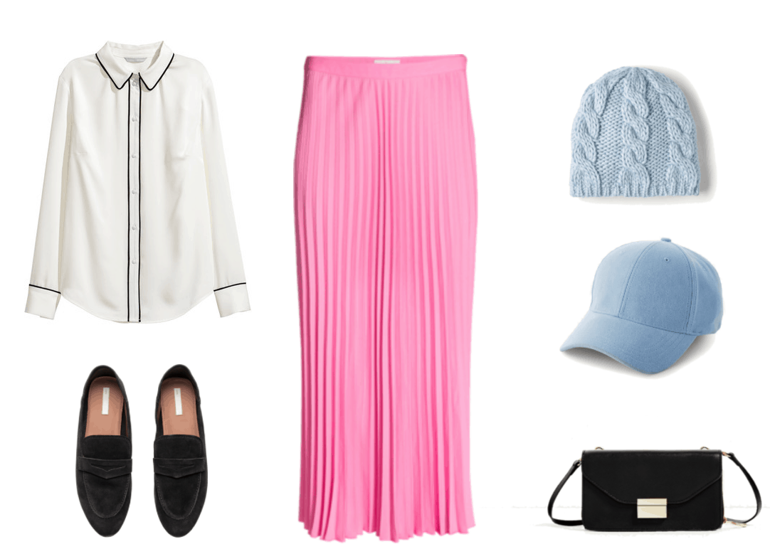 """""""How Do I Dress Fashionably Without Sacrificing My Beliefs?"""" outfit #3 featuring white blouse with black piping, black loafers, pink pleated midi skirt, pale-blue knitted beanie, pale-blue faux-suede baseball cap, black crossbody bag"""