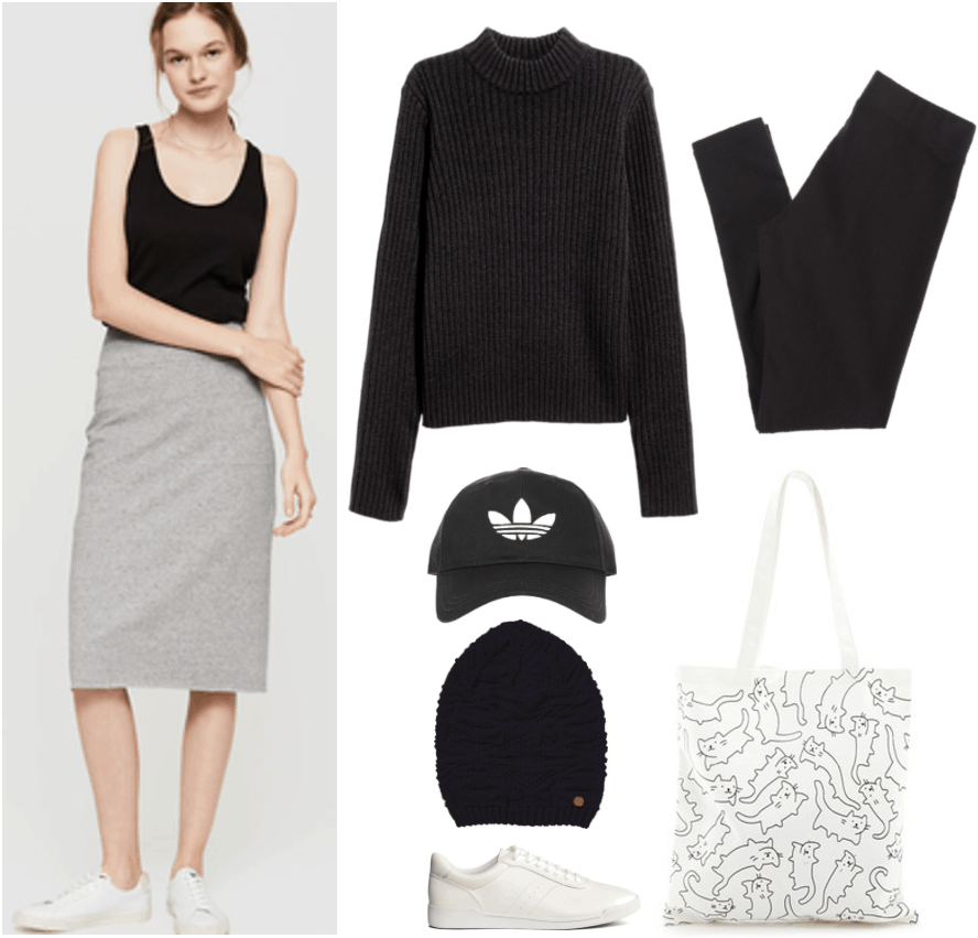 """""""How Do I Dress Fashionably Without Sacrificing My Beliefs?"""" outfit #4 featuring gray midi skirt, black turtleneck sweater, black baseball cap with white Adidas logo, black knitted beanie, white sneakers, black leggings, black-and-white cat-print canvas tote bag"""