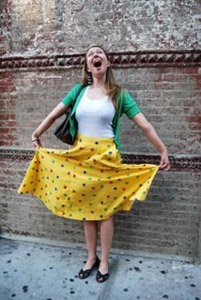 A fashionista wearing a brightly colored outfit