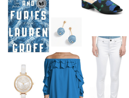 An outfit inspired by Fates and Furies featuring a blue off the shoulder top, white jeans, white watch, blue and white swirled earrings, and black and floral print mules.