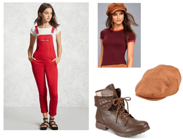 Fatty Bear Outfit Inspiration: red overalls, burgundy cropped tee, brown combat boots, camel wool newsboy cap