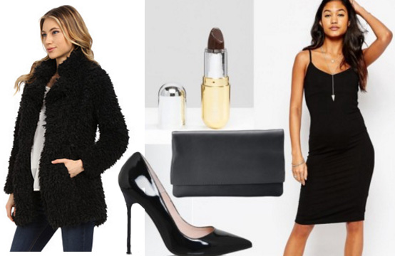 Outfit inspired by Chrissy Teigen's faux fur coat