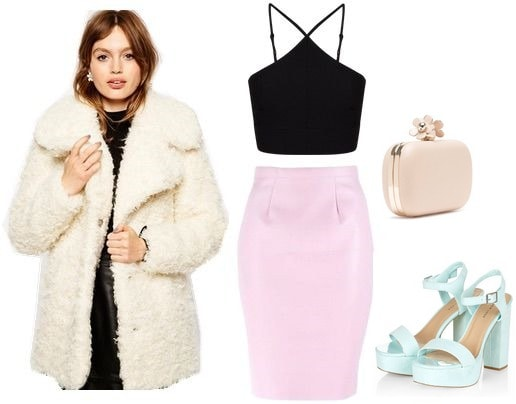 faux fur coat and leather skirt look