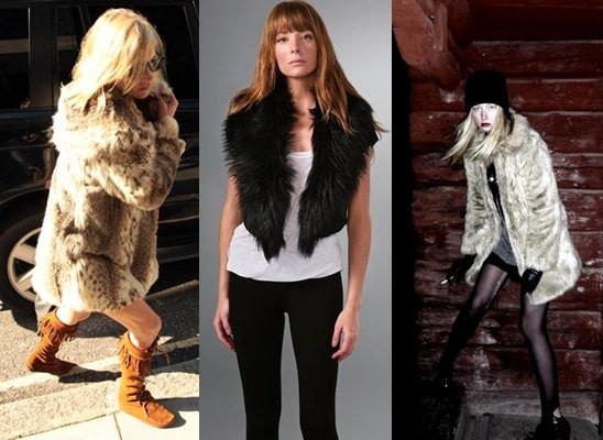 Faux fur coats and faux fur vests