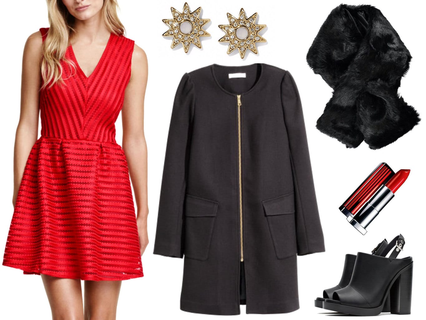 How to wear a faux fur scarf: Outfit idea
