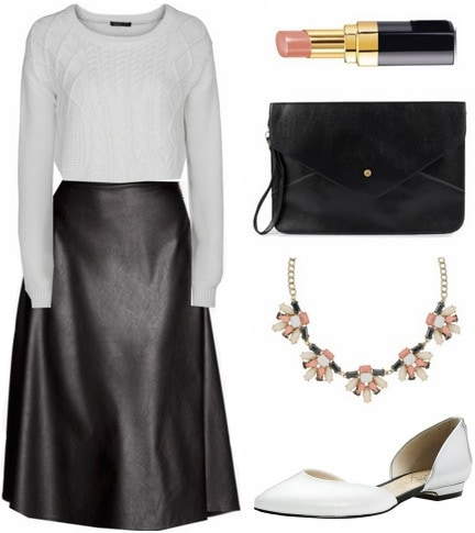 Faux leather midi skirt and sweater outfit