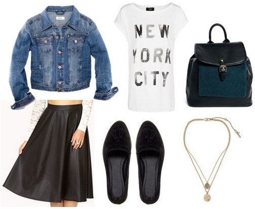 Faux leather midi skirt, graphic tee, denim jacket, loafers