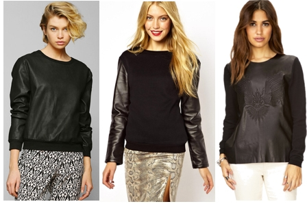 Faux leather sweaters